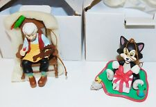 Boxed Disney Grolier Christmas Tree Ornament - Pinocchio's Geppetto and Figaro