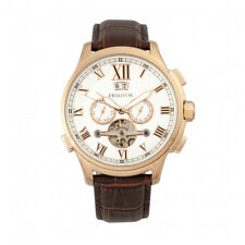 Heritor Automatic Hudson Semi Skeleton Brown Leather Rose Gold Watch w/ Date