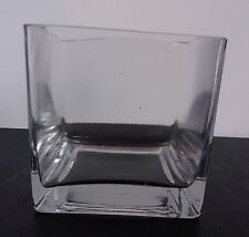 Vintage Square Cube Heavy Glass Vase 4inch