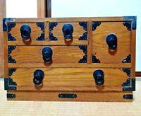 DRAWER WOOD TANSU CHEST MEIJI OLD JAPANESE ANTIQUE Storage Box Handmade Japan 10