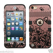 Black Lace Flower/Rose Gold Shockproof Cover Dual Layer Case for iPod Touch 5/6