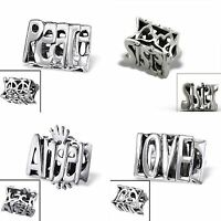 925 Sterling Silver Solid Charm Beads European Bracelets - 3D Words & Phrases