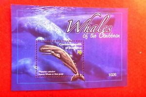 WHALES OF THE CARIBBEAN DOMINICA MUH  MINI SHEET $6 STAMP