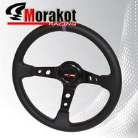 350mm Deep Dish 6 Bolt Steering Wheel Black Aluminum Center (Purple Stitching)