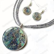 ABALONE pendant NECKLACE/EARRINGS SET glass bead SILVER PLATED KC enamel paua