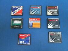 Lot of 8 Comp. Flash 5-SanDisk 256MB 1-384MB San Disk 1-256MB UD Mod 1-256 Apace
