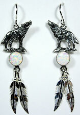 White Fire Opal 925 Sterling Silver Coyote & Feather Earrings - made in USA