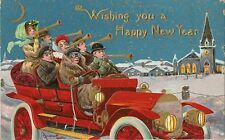 CARTE POSTALE POST CARD FANTAISIE GAUFREE WISHING YOU A HAPPY NEW YEAR