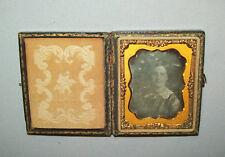 Antique vtg 1850s DAGUERREOTYPE Photo Woman 1/9 plt dag Paper Mache Case