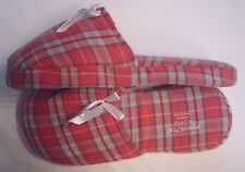 PINK PLAID FLANNEL SLIPPERS HOUSE SHOES MULES CLOGS SLIP-ONS~XL(11/12) WIDE~NEW