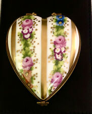 New ListingFrench Limoges Heart Shaped Porcelain Trinket Box Hinged Top