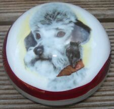 -Presse-Papier Verre Sulfure Glass Caniche Poodle Paperweight