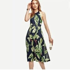 """""""ANN TAYLOR"""" BLUE/GREEN FLORAL TROPICAL HALTER  PLEATED DRESS SIZE: 6P NWT $130"""