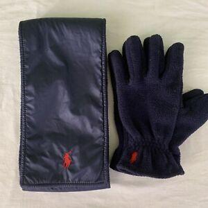 Polo Ralph Lauren Boys Youth Scarf And Gloves Set Fleece Navy NICE!