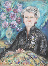 MARY FORESTIER WALKER BRITISH OIL PASTEL PORTRAIT LADY SEWING PAINTING ART1952