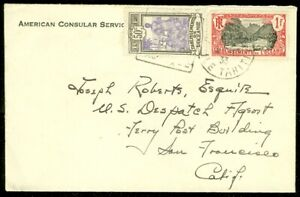 EDW1949SELL : FR. POLYNESIA Very nice 1933 cover from American Consular Service