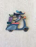 Vintage style artistic Dachshund dog on scooter brooch in enamel on metal