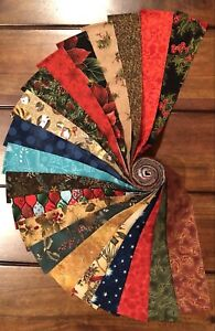 Beautiful Holiday 20 Strip Jelly Roll, Quilt Shop Fabric, 100% Cotton, Moda etc