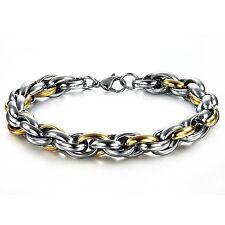 Kings & Lions 18K Gold Plated Stainless Steel Chain titanium Bracelet for Men
