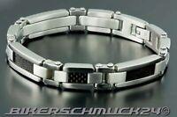 Biker Armband mit Design in Carbon-Optik 316L Edelstahl poliert Herren Geschenk