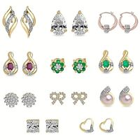 9ct Gold Stone Earrings Stud Drop Dangle Gem UK Jewellery Gift Set Free Shipping