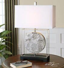 "29"" METALLIC SILVER REPTILE PATTERN FINISH TABLE LAMP LINEN SHADE READING LIGHT"