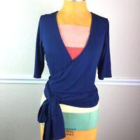 Agnes Dora Womens Wrap Top Short Elbow Sleeve Dark Blue Size M