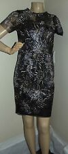 SABLE & ZOE SMALL BLACK SILVER GOLD METALLIC EMBROIDERED SHEATH DRESS L floral