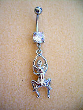 14g Kama Sutra Sex Position Navel Belly Ring Clear CZ Surgical Steel #19