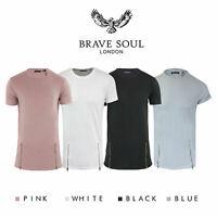 Brave Soul Falcon Mens Long line Zip Short Sleeve T-Shirt