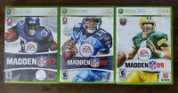 USED Madden Football 07 + 08 + 09 - Xbox 360 - Lot of 3 Bundle Free Shipping