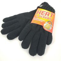 Heat Lockers Womens Thermal Gloves Black Cable Knit Faux Fur Insulation One Size