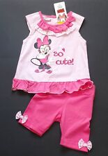 Disney MINNIE MOUSE 2tlg Tunika & 3/4 Capri Vichy KaRo Glitzer Pink Gr. 98 NeU