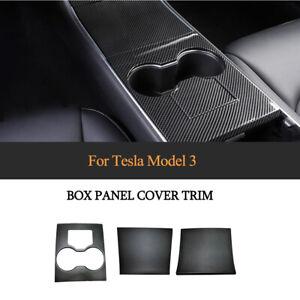 3xCarbon Mittelkonsole Dekor Blende Zierleiste Rahmen für Tesla Model 3 Bj17-19