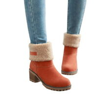 Womens Snow Boots Warm Shoes Pull On Square Heels Ankle Boots Suede Winter Shoes