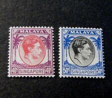 Singapore  Stamp Scott#  16-17 King George VI 1948 MNH  C495