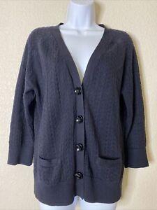 Talbots Womens Size M Black Pima Cotton Button Front Cardigan 3/4 Sleeve