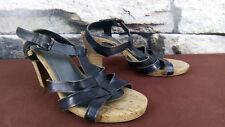 MEXX Femmes Taille 40 Sandales Talons Hauts Cuir Liège Sandales Sling Romains #a6