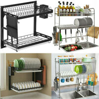 Stainless Steel Over Sink Dish Drying Rack Shelf Kitchen Cutlery Holder USA