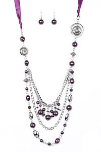"""Paparazzi """"All The Trimmings"""" Purple Necklace and Earrings"""