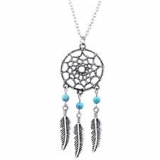 BOHO Retro Dream Catcher Pendant Long Chain Necklace Sweater Chain Jewelry--UK