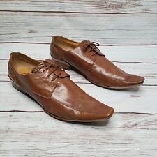 Dino Bigioni Brown Leather Pointed Oxford Shoes Size EU 45 / US 11 made in italy