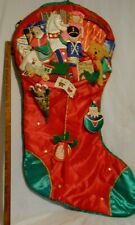 Christmas Decor Red Commercial Size 3 Foot Stocking 44X23 Inches Satin Applique