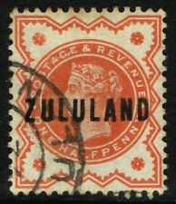 SG 1 ZULULAND 1888 - HALFPENNY VERMILION - USED