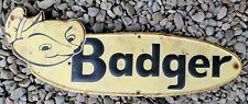 Vintage Badger Farm Equipment Embossed Tin Advertising Sign Large Size 27 x 7