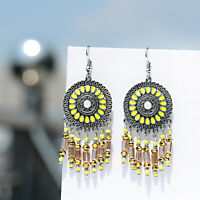 Women Vintage Big Round Bohemian Earrings Long Beads Tassel Boho Dangle Earrings