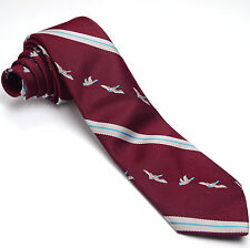 VINTAGE OAKTON 56L Burgundy Red Aqua Blue Gray Pheasants Skinny Mens Neck Tie