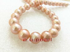 """AAAAA luster 17""""15mm Natural real ROUND south sea gold pink pearl necklace 14K"""