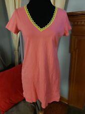 CALVIN KLEIN Women's Lace Neckline Sleepwear Shirt Pink Yellow 100% Cotton M