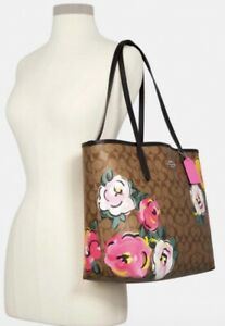 NWT Coach City Tote In Signature Canvas With Vintage Rose Print Pre-sale
